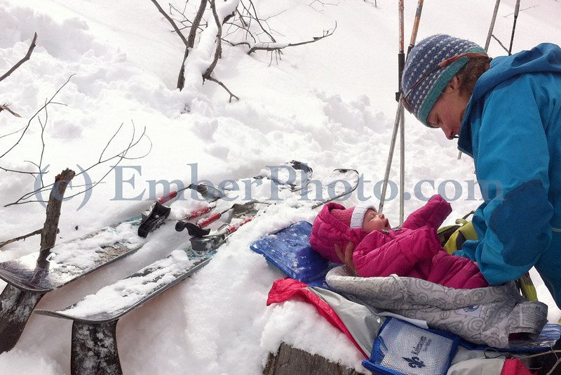 Emily Johnson - Dialing in the backcountry diaper change w/ lil' Maiana Snow (aka Lil' Snowflake)
